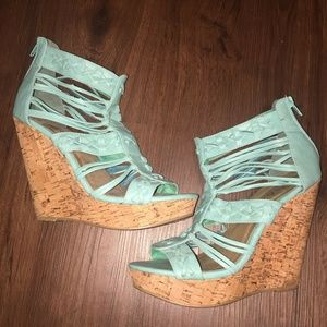 """Shoes - 5"""" Caged Open Toe Wedges Blue Size 8 Womens"""